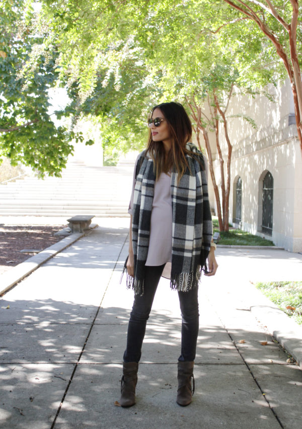 Bump Style: Blush Pink + Plaid Scarf