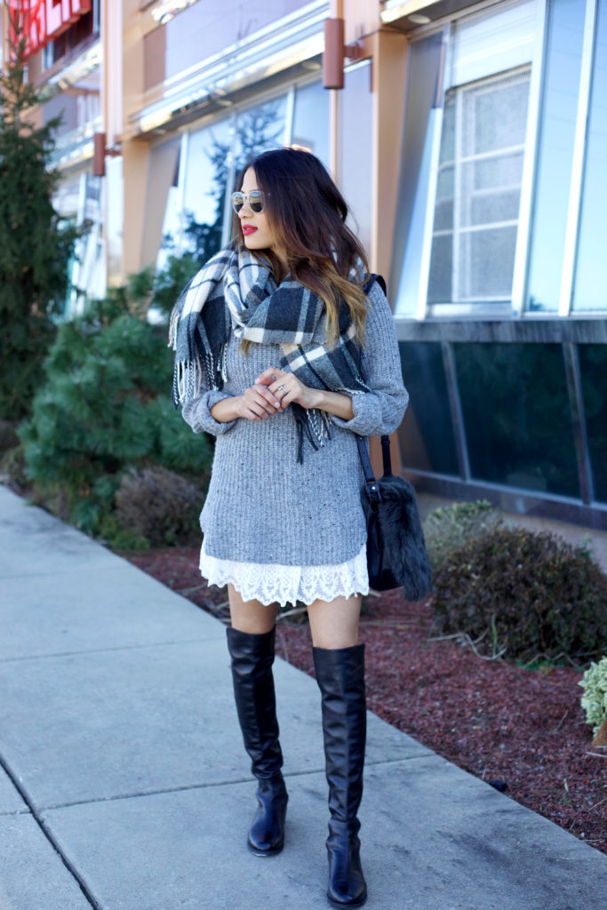 Knits, Lace, and OTK Boots