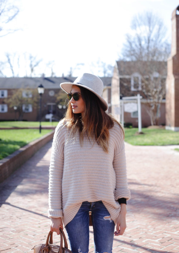 Blush Pink Sweater + Gray Hat