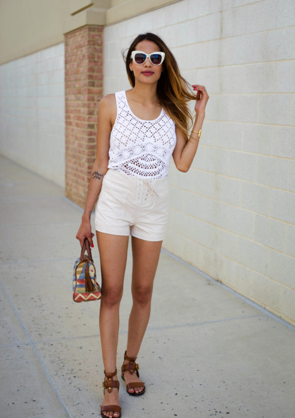 White Macrame Tank + Lace Up Shorts