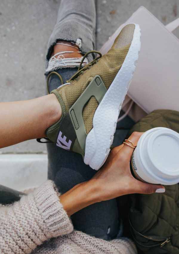 Olive Green Sneakers + Blush Tones for Fall