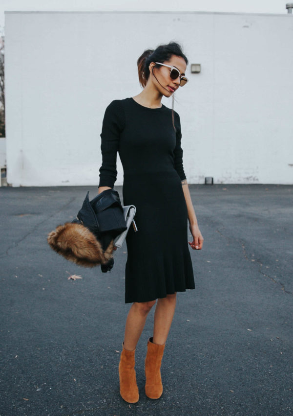 Sweater Dress + Leather