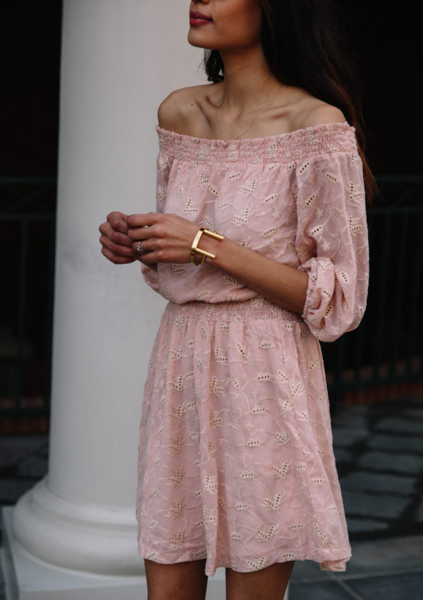 Pink Off The Shoulder Dress