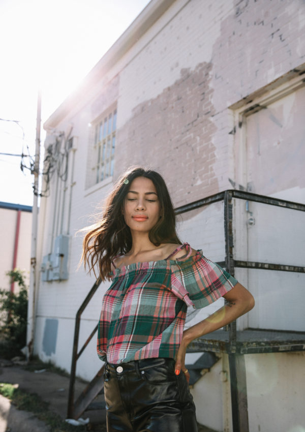 Plaid Tie Top + Vinyl