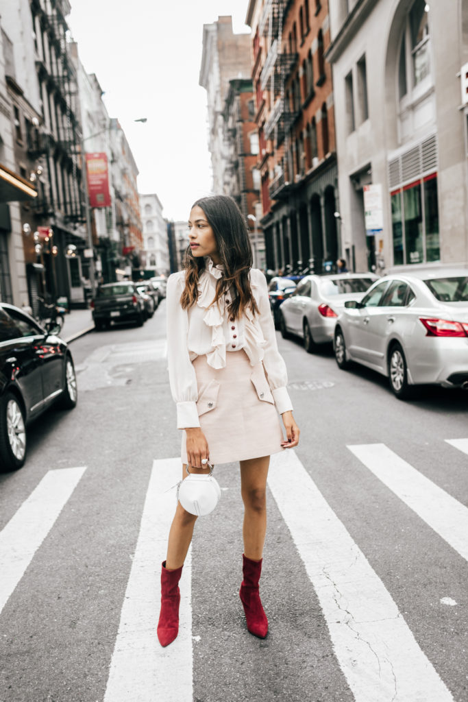 NYFW Recap | Ruffled Blouse and Blush Pink Skirt