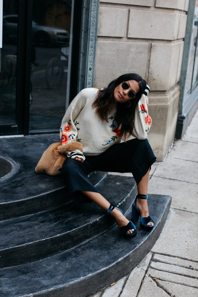 Fall Street Style | Floral Sweater, Culottes, and Velvet Heels