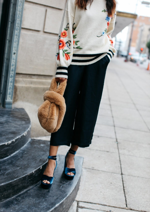 Fall Style | Floral Sweater, Culottes, and Velvet Heels