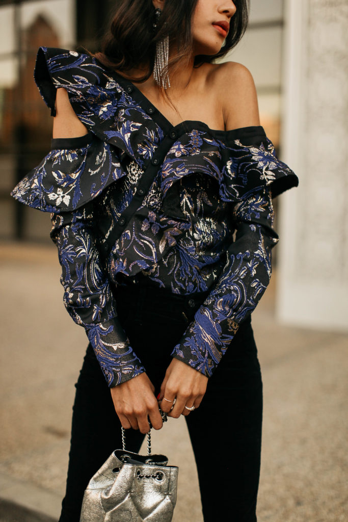 Metallic Off the Shoulder Top for the Holidays | www.DISCODAYDREAM.com @discodaydream