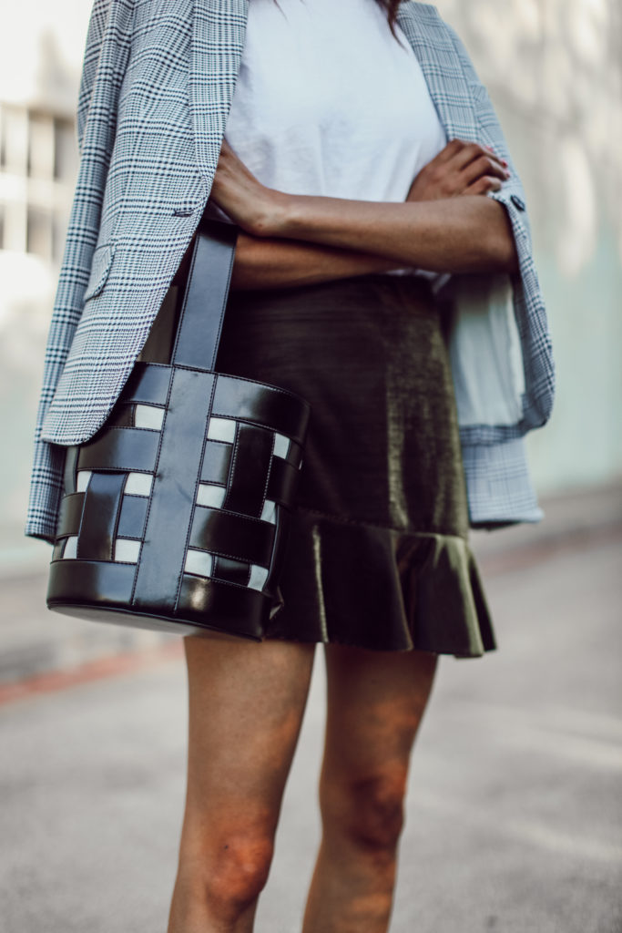 PLAID BLAZER + GOLD SKIRT
