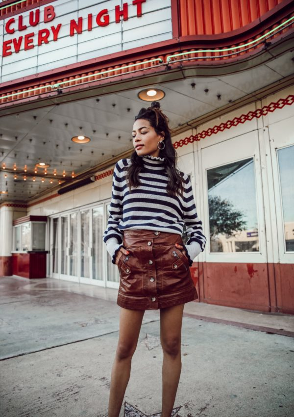 Striped Turtleneck + Leather Skirt