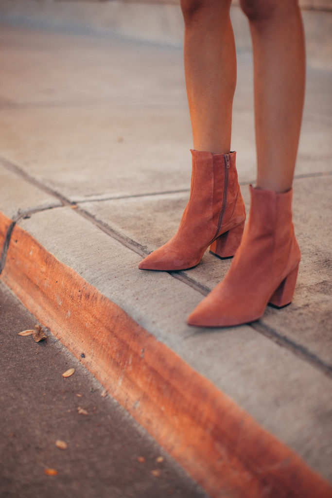 Pink Suede Ankle Boots   Casual Outfit from www.DISCODAYDREAM.com @discodaydream