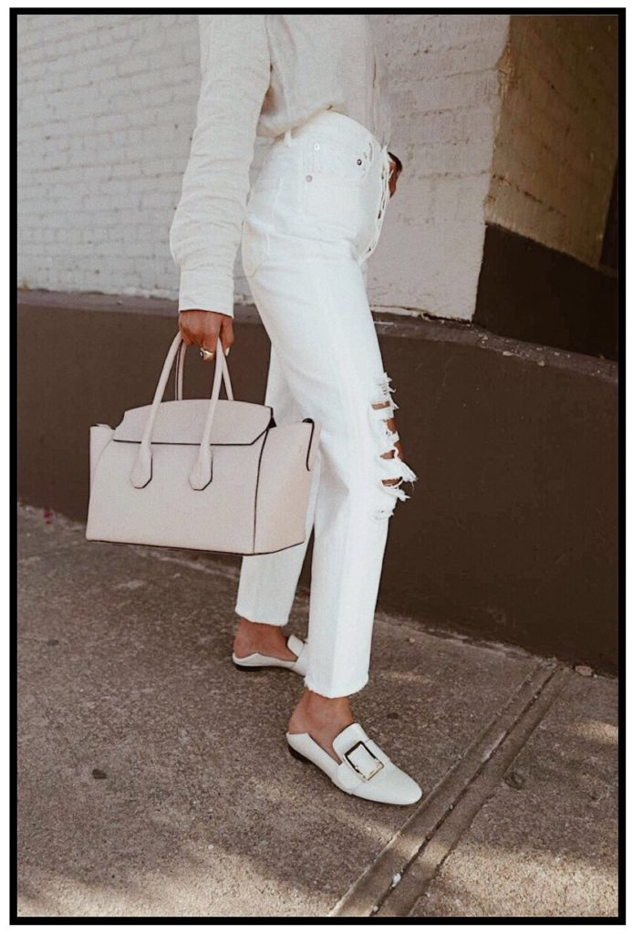 Lauren Johnson of Disco Daydream styles classic timeless accessories for a neutral summer look with Bally