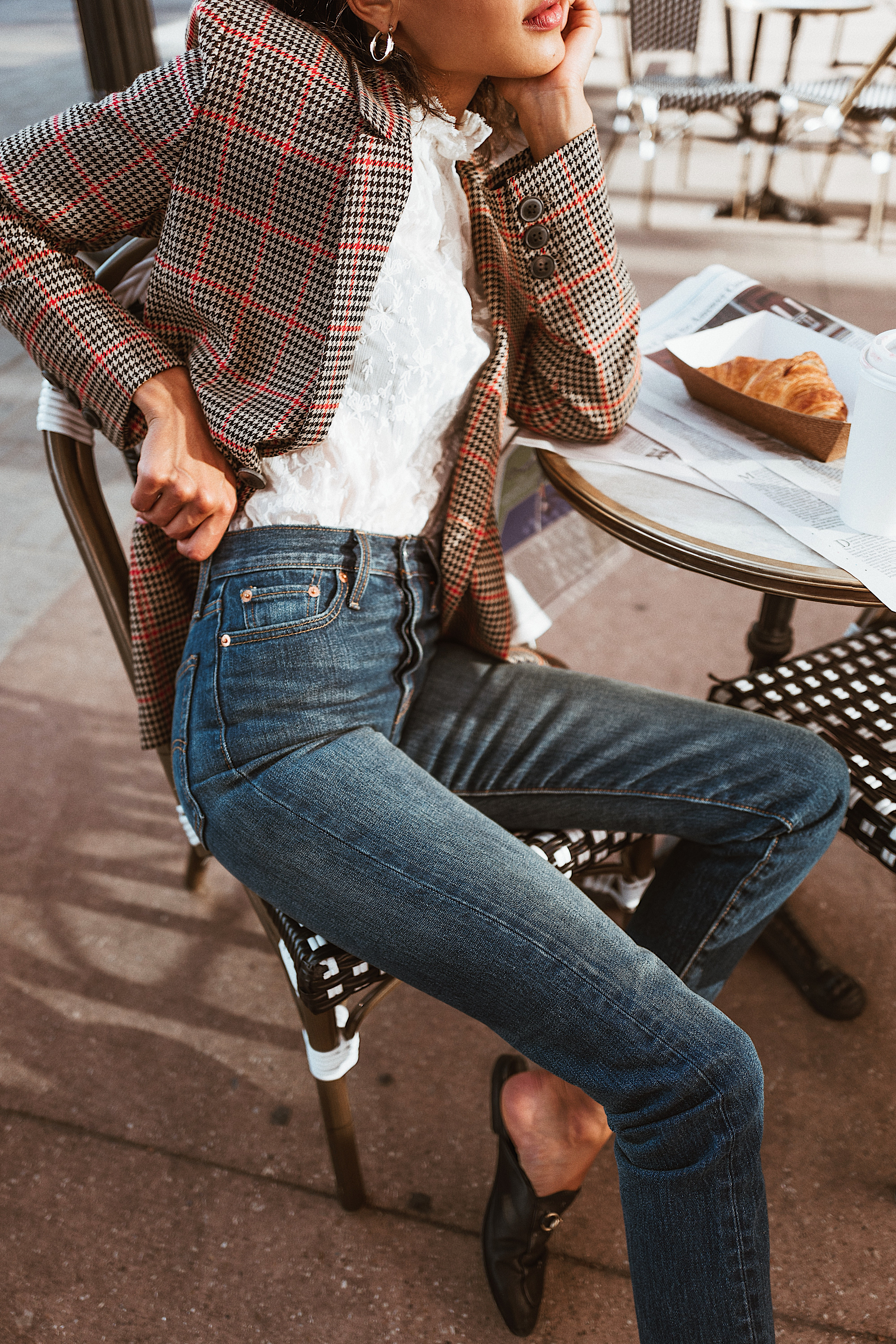 410565912 lauren johnson of disco daydream wears levis mom jeans anine bing blazer  rebecca taylor white blouse gucci princetown mules and ysl sunglasses from  ...