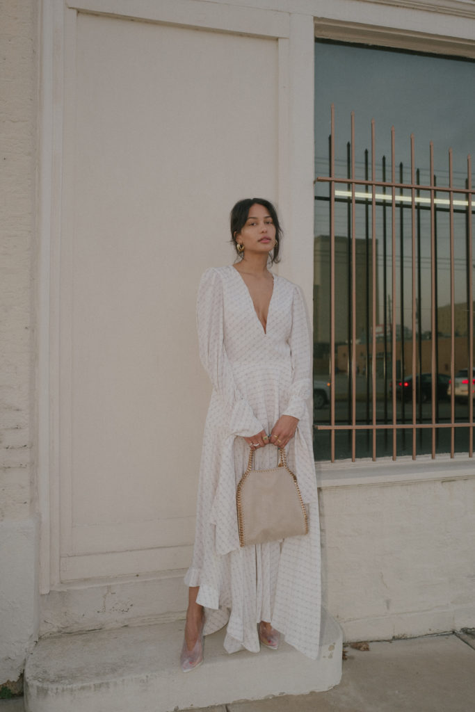 lauren johnson of disco daydream wears Stella Mccartney Marley Dress and Falabella Bag | @discodaydream
