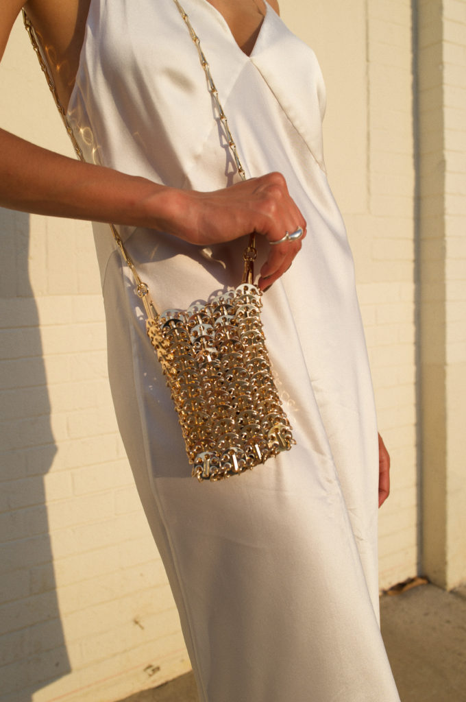 Lauren Johnson wears Paco Rabanne Mini 1969 chainmail shoulder bag | disco daydream @discodaydream